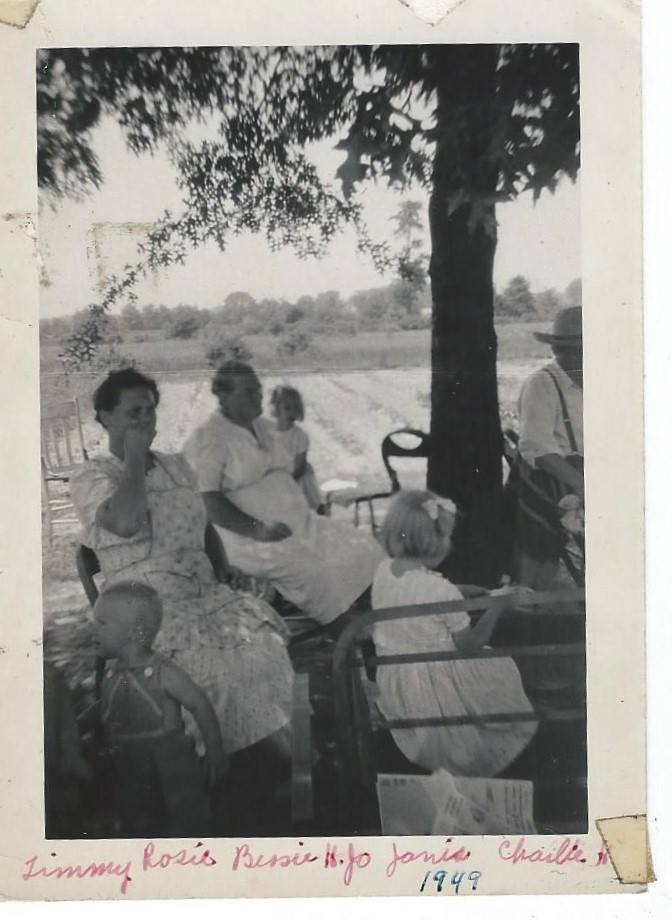 Mom Rosie 1949 with Grandma Bessie Heintz and others from Raelynn